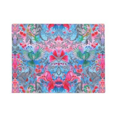 Vintage luxury floral garden blue bird lux pattern doormat