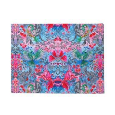 Vintage luxury floral garden blue bird lux pattern doormat