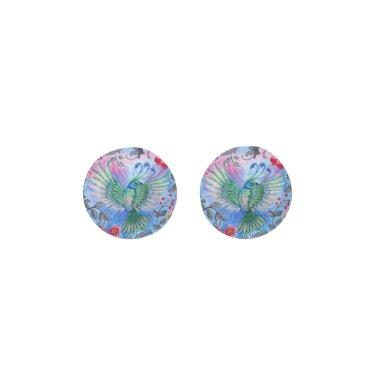 Vintage luxury floral garden blue bird lux pattern earrings