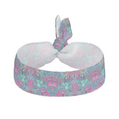Vintage luxury floral garden blue bird lux pattern elastic hair tie