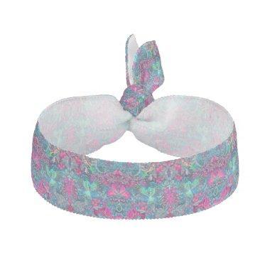 Vintage luxury floral garden blue bird lux pattern elastic hair tie