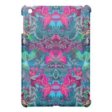 Vintage luxury floral garden blue bird lux pattern iPad mini covers
