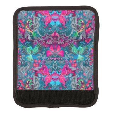 Vintage luxury floral garden blue bird lux pattern luggage handle wrap