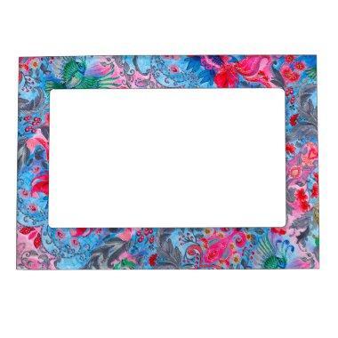 Vintage luxury floral garden blue bird lux pattern magnetic frame