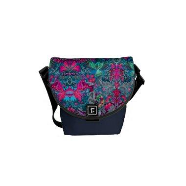 Vintage luxury floral garden blue bird lux pattern messenger bag