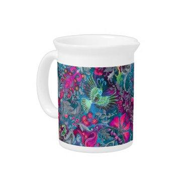 Vintage luxury floral garden blue bird lux pattern pitcher
