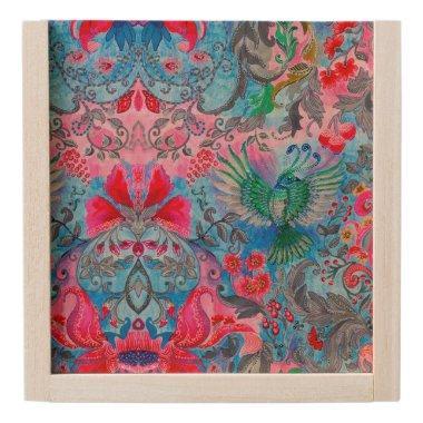 Vintage luxury floral garden blue bird lux pattern wooden keepsake box