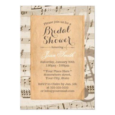 Vintage Music Notes Elegant Bridal Shower Invitations