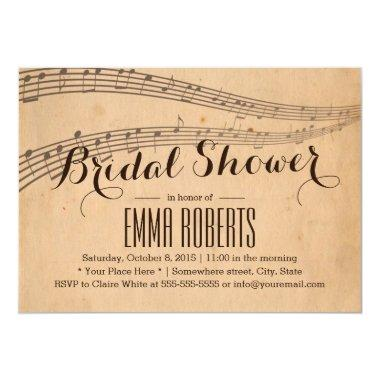 Vintage Music Notes Elegant Musical Bridal Shower Invitations