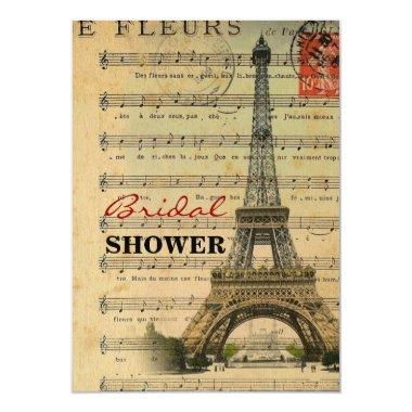 vintage music notes french paris eiffel tower Invitations