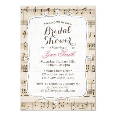 Vintage Music Sheet Bridal Shower Invitations