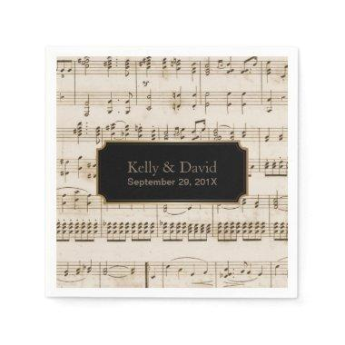 Vintage Music Sheets Elegant Musical Wedding Napkin