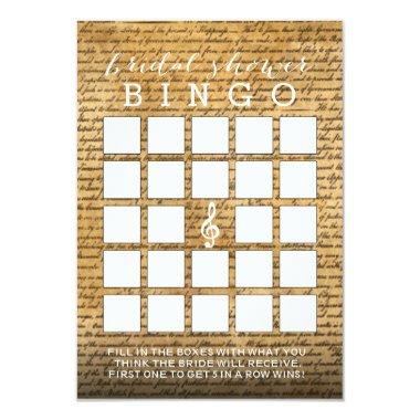 Vintage Musical Bridal Shower Bingo Invitations