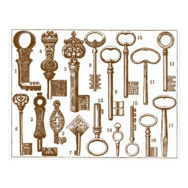 Vintage Old Fashioned Antique Key Set PostInvitations