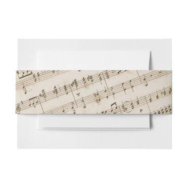 Vintage Old Music Sheet Musical Invitations Belly Band