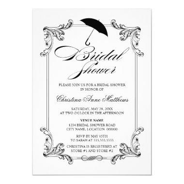 Vintage Ornament Bridal Shower Invitations