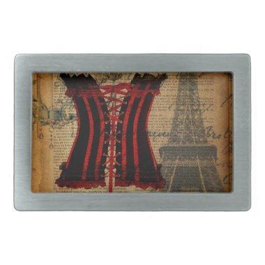 vintage paris eiffel tower girly corset rectangular belt buckle