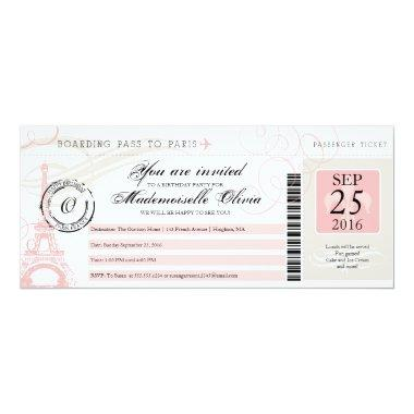 Vintage Paris France Birthday Party Boarding Pass