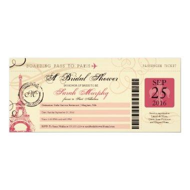 Vintage Paris France Bridal Shower Boarding Pass Invitations