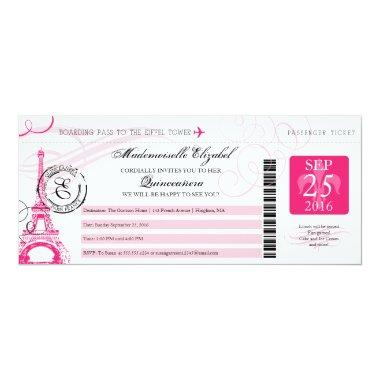 Vintage Paris France Quinceanera Boarding Pass