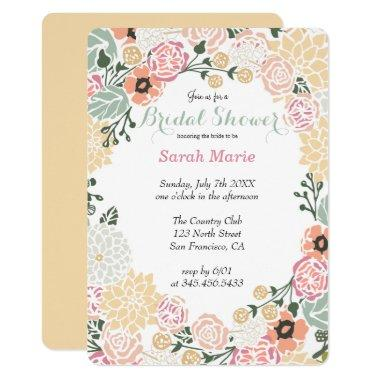 Vintage Pastel Flower Wreath Party Invitations