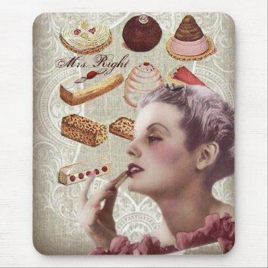 vintage pastry  tea party mouse pad