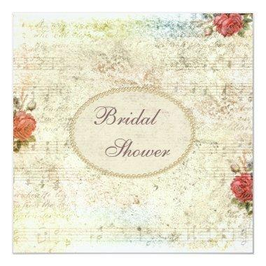 Vintage Pearls & Lace Shabby Chic Bridal Shower Invitations