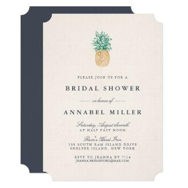 Vintage Pineapple Bridal Shower Invitations