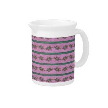 Vintage Pink and Green Floral Stripes Drink Pitcher