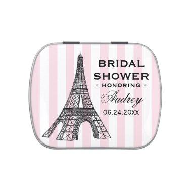 Vintage Pink Eiffel Tower Paris Bridal Shower Jelly Belly Tin