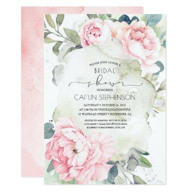 Vintage Pink Flowers and Greenery Bridal Shower Invitations