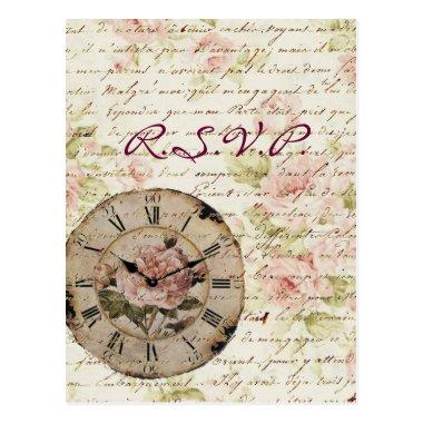 Vintage Pink Rose Floral steampunk Wedding RSVP Post
