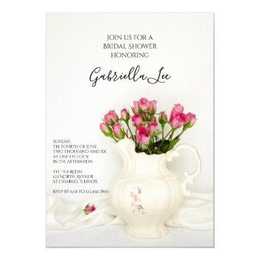 Vintage Pitcher and Pink Roses Bridal Shower Invitations