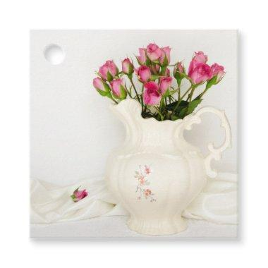 Vintage Pitcher and Pink Roses Wedding Favor Tags
