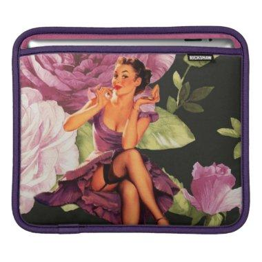 vintage purple floral retro pin up girl sleeve for iPads