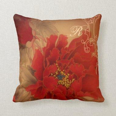 Vintage Red Peony Chinese Wedding Throw Pillow