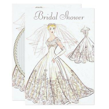 Vintage Retro 1950 Blonde Bride Gown