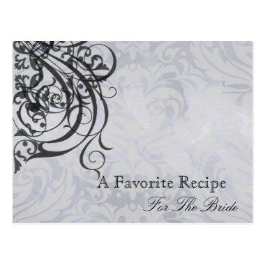 Vintage Rococo Black Bridal Shower Recipe Invitations