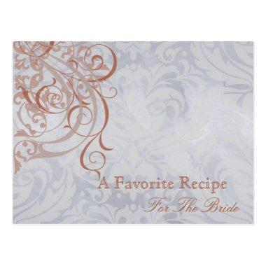 Vintage Rococo Peach Bridal Shower Recipe Invitations