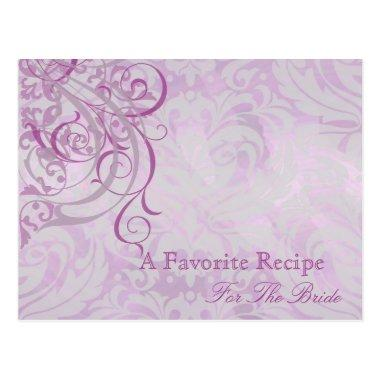Vintage Rococo Pink Bridal Shower Recipe Invitations
