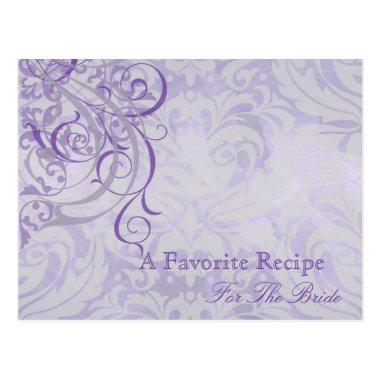 Vintage Rococo Purple Bridal Shower Recipe Invitations