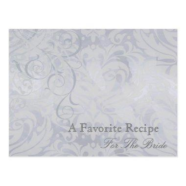 Vintage Rococo Silver Bridal Shower Recipe Invitations