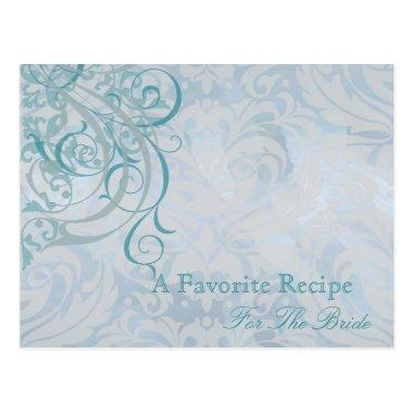 Vintage Rococo Teal Bridal Shower Recipe Invitations