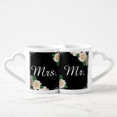 vintage rose chalkboard Mr and Mrs Coffee Mug Set