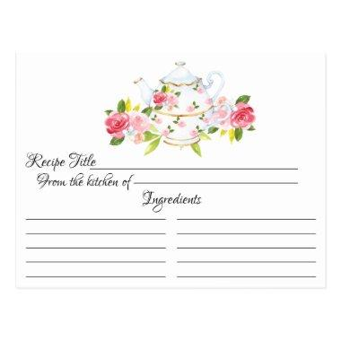 Vintage Rose Tea Pot Floral Recipe Invitations