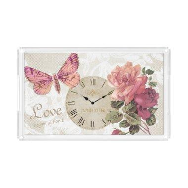 Vintage Rose Wedding Love Butterfly Clock Tray