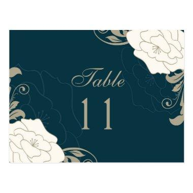 Vintage roses, swirls on teal Table number place PostInvitations