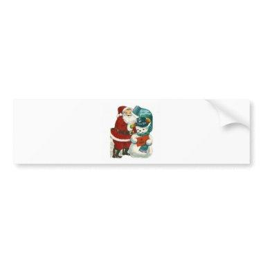 vintage Santa snowman Christmas winter holiday art Bumper Sticker
