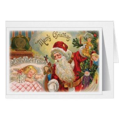 vintage Santa snowman Christmas winter holiday art