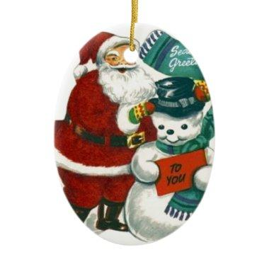 vintage Santa snowman Christmas winter holiday art Ceramic Ornament